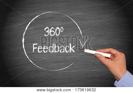 360 Degrees Feedback - female hand writing text
