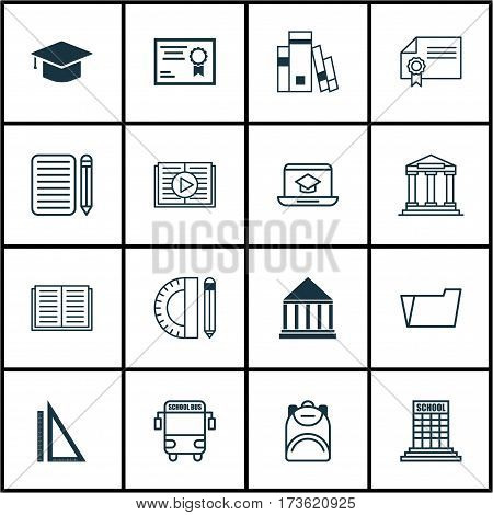 Set Of 16 School Icons. Includes Document Case, Education Center, Taped Book And Other Symbols. Beautiful Design Elements.