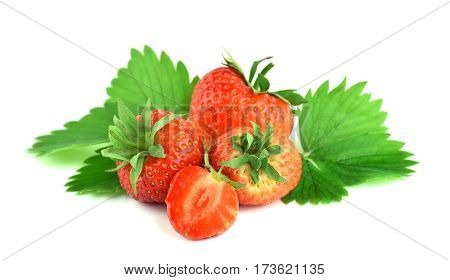Fresh red strawberries and half with leaves isolate on a white background. The taste of nature. Summer.