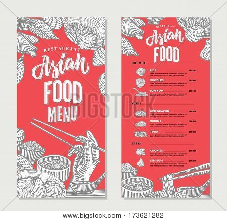 Asian food restaurant menu sketch template with traditional meals of japanese indonesian and chinese cuisines vector illustration