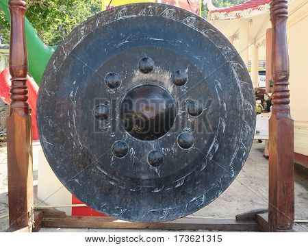 big gong at a buddhist temple Thailand