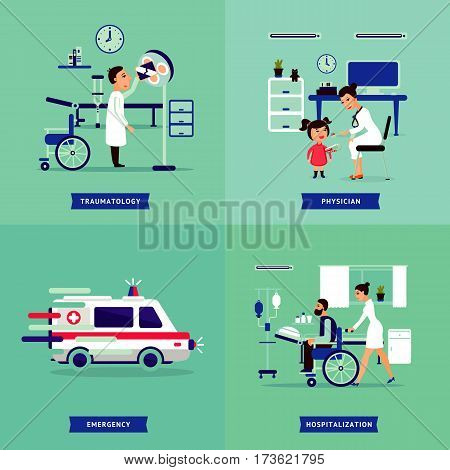 Medical treatment concept with traumatologist and pediatrician doctors ambulance car and sick patients in hospital vector illustration