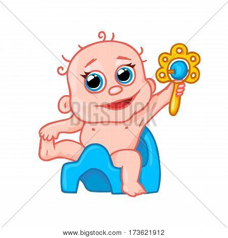 very cute newborn baby on the pot and with a rattle