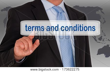 Terms and Conditions - Businessman with touchscreen