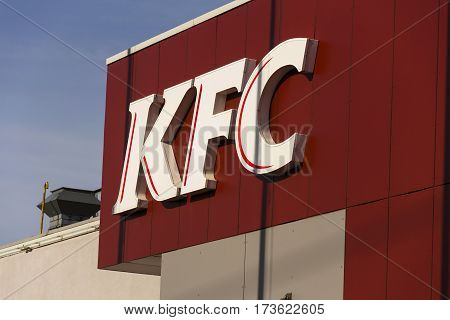 Prague, Czech Republic - February 25: Kfc International Fast Food Restaurant Company Logo On Februar