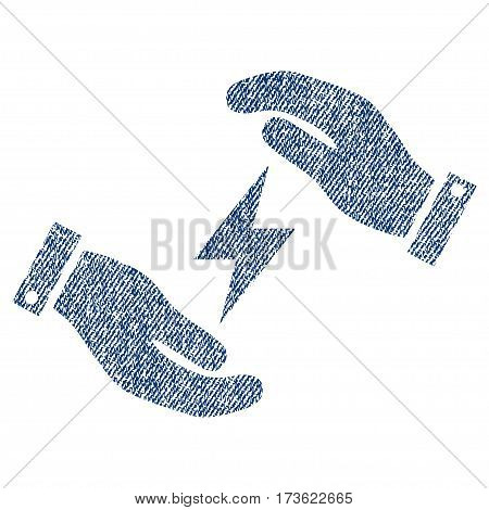 Electricity Care Hands vector textured icon for overlay watermark stamps. Blue jeans fabric vectorized texture. Symbol with dust design. Blue ink rubber seal stamp with fiber textile structure.