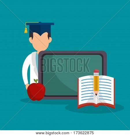 student graduation easy learning vector illustration design
