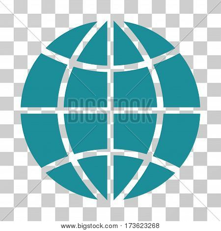 Planet Globe vector pictograph. Illustration style is flat iconic soft blue symbol on a transparent background.