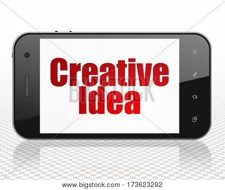 Business concept: Smartphone with red text Creative Idea on display, 3D rendering