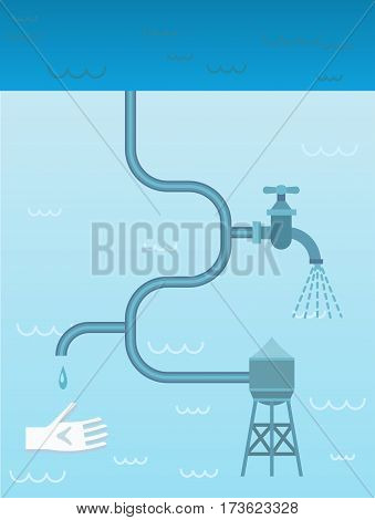 Liquid system concept with water tank plumbing pipes and faucet on blue background vector illustration