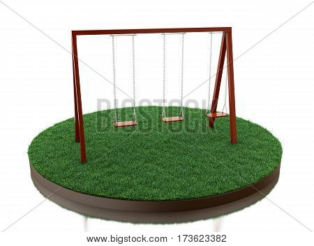 3d renderer image. Wooden swing on park. Isolated white background.