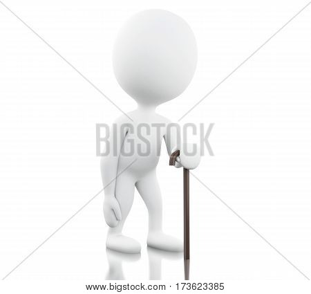 3d renderer image. 3d White people with walking stick. Isolated white background.