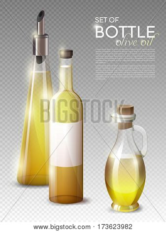 Realistic olive oil bottles set of different shapes and sizes on transparent background isolated vector illustration