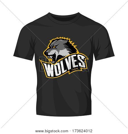 Furious wolf sport vector logo concept isolated on black t-shirt mockup. Modern web infographic predator team pictogram. Premium quality wild animal t-shirt tee print illustration.