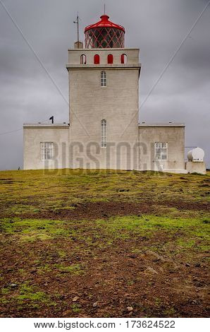 Famous Lighthouse of Dyrholaey in Iceland, Europe