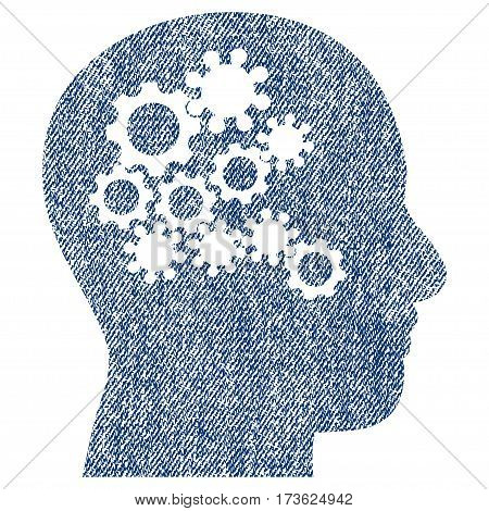 Human Mind Gears vector textured icon for overlay watermark stamps. Blue jeans fabric vectorized texture. Symbol with scratched design. Blue ink rubber seal stamp with fiber textile structure.