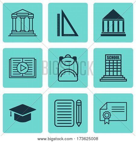 Set Of 9 School Icons. Includes Education Center, Haversack, College And Other Symbols. Beautiful Design Elements.