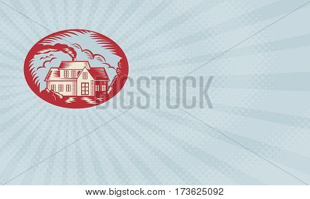Business card showing Retro illustration of a house homestead cottage viewed from front set inside ellipse oval done in woodcut style.