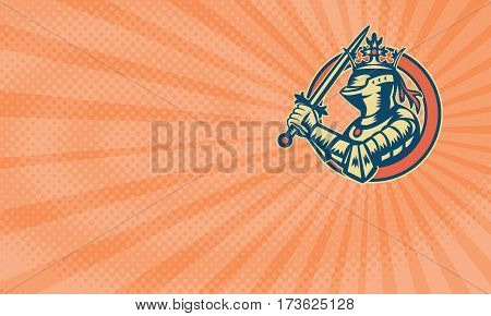 Business card showing Illustration of knight in full armor brandishing a sword set inside circle done in retro woodcut style.