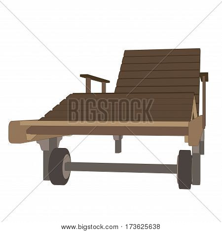 Recliner wooden vector isolated on white cartoon