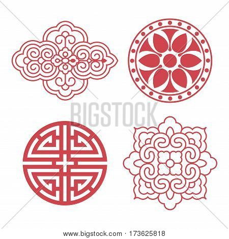 Set of vector Korean traditional design elements