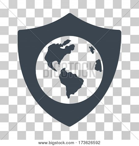 Earth Shield vector icon. Illustration style is flat iconic smooth blue symbol on a transparent background.