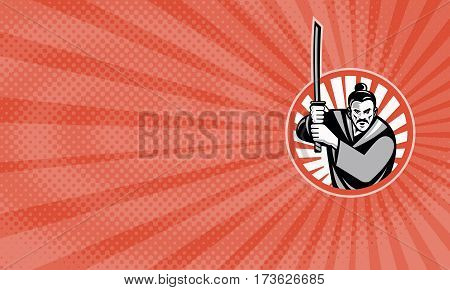 Business card showing Illustration of a samurai warrior facing front with katana sword set inside circle done in retro style.