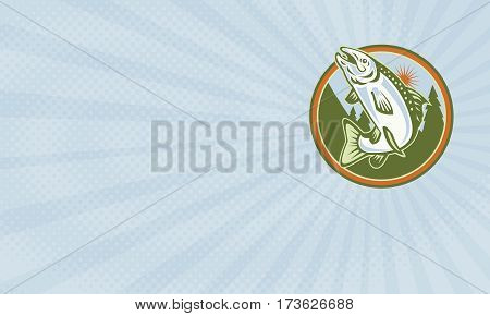 Business card showing Illustration of a spotted speckled trout fish jumping set inside circle done in retro style.