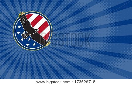 Business card showing Illustration of a bald eagle soaring flying with american USA stars stripes flag set inside circle on isolated background done in retro style.