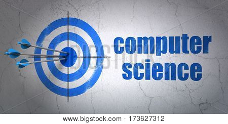 Success Science concept: arrows hitting the center of target, Blue Computer Science on wall background, 3D rendering