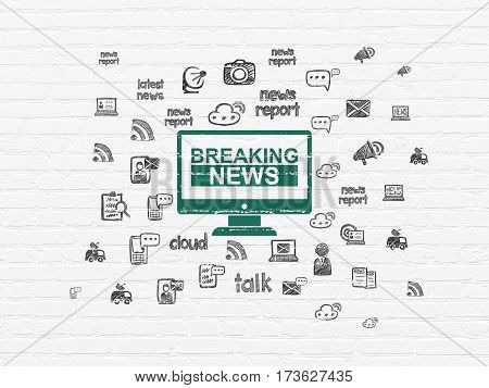 News concept: Painted green Breaking News On Screen icon on White Brick wall background with  Hand Drawn News Icons