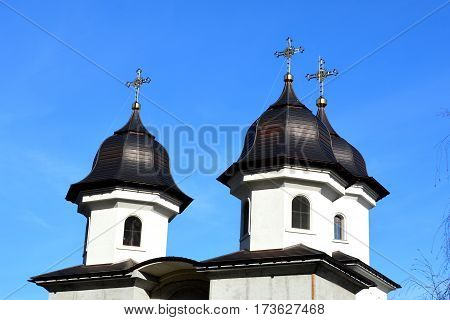 Typical roof of an orthodox church. Typical urban landscape of the city Brasov, a town situated in Transylvania, Romania, in the center of the country. 300.000 inhabitants.