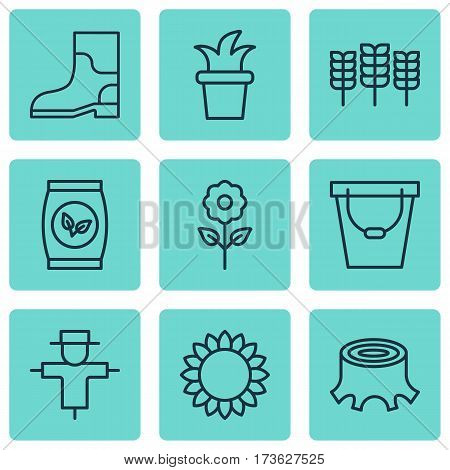 Set Of 9 Planting Icons. Includes Decorative Plant, Grains, Rubber Boot And Other Symbols. Beautiful Design Elements.
