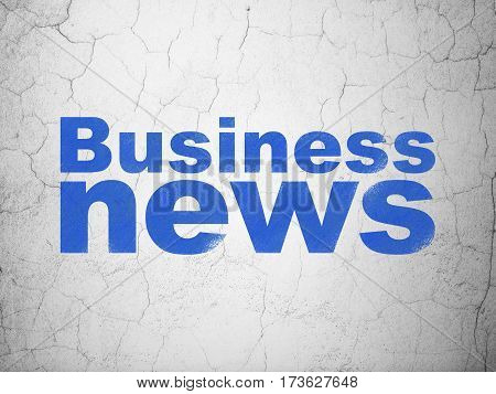News concept: Blue Business News on textured concrete wall background