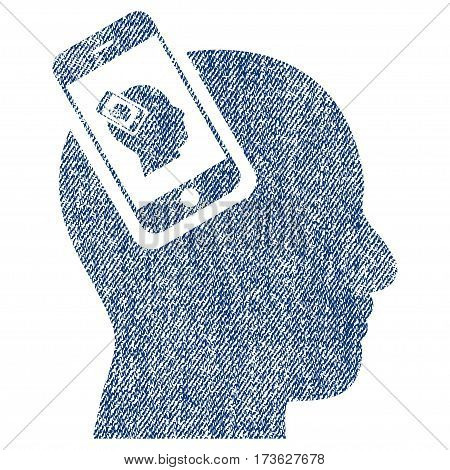 Smartphone Head Plugin Recursion vector textured icon for overlay watermark stamps. Blue jeans fabric vectorized texture. Symbol with scratched design.