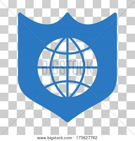 Global Shield vector icon. Illustration style is flat iconic smooth blue symbol on a transparent background.