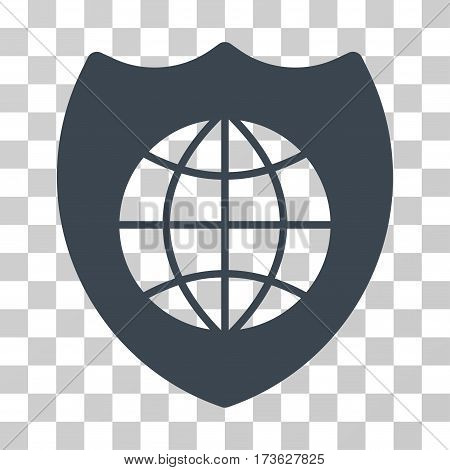 Global Shield vector pictogram. Illustration style is flat iconic smooth blue symbol on a transparent background.
