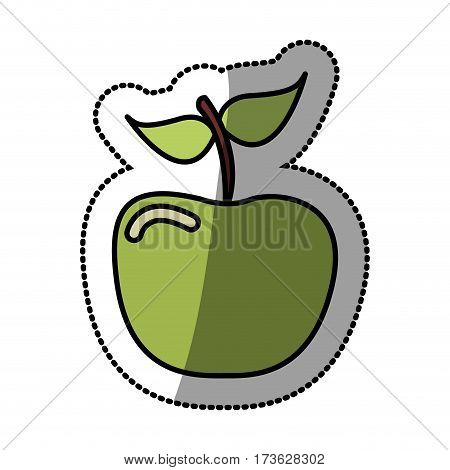 green apple fruit icon stock, vector illustration desing
