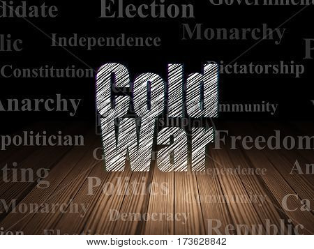 Political concept: Glowing text Cold War in grunge dark room with Wooden Floor, black background with  Tag Cloud
