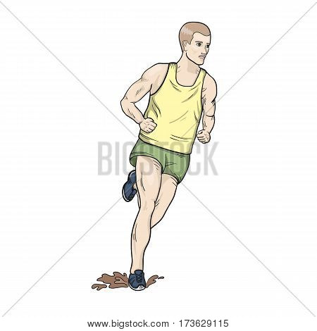 Cross country running hand drawn vector illustraion