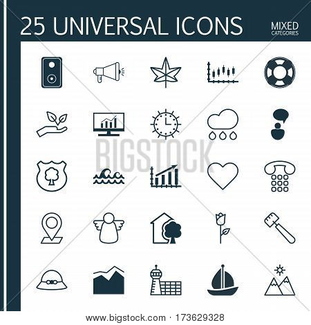 Set Of 25 Universal Editable Icons. Can Be Used For Web, Mobile And App Design. Includes Elements Such As Callcentre, Love Flower, Market Research And More.