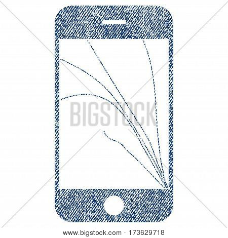 Smartphone Screen Cracks vector textured icon for overlay watermark stamps. Blue jeans fabric vectorized texture. Symbol with dirty design. Blue ink rubber seal stamp with fiber textile structure.