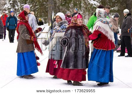 PETROZAVODSK, RUSSIA - FEBRUARY 26TH, 2017: Maslenitsa - folklore group participating at the spring coming festival, which is traditionally celebrated in Eastern Europe