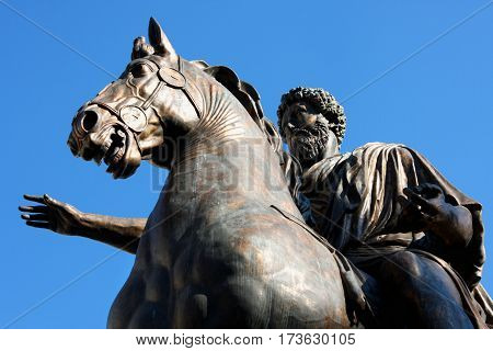 Statue Marco Aurelio at the Capitoline Hill in Rome Italy