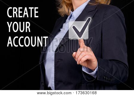 Create your Account - Businesswoman with touchscreen checkbox