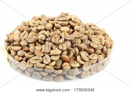 not fried a bunch of green coffee beans for processing and use in food