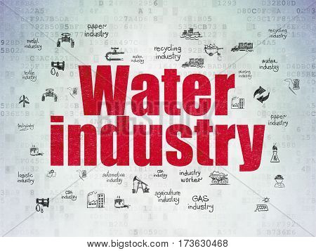 Industry concept: Painted red text Water Industry on Digital Data Paper background with  Hand Drawn Industry Icons