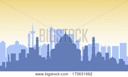 Stock vector illustration background silhouette architecture buildings and monuments town city country travel printed materials, cover, India, monuments, Taj Mahal, New Delhi, Indian Culture, Mumbai,