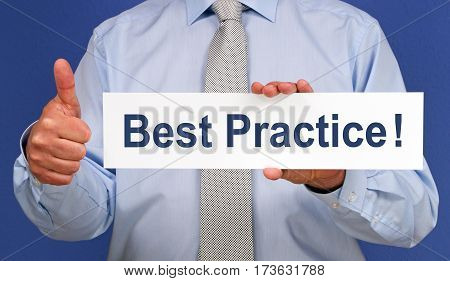 Best Practice - Businessman with thumb up