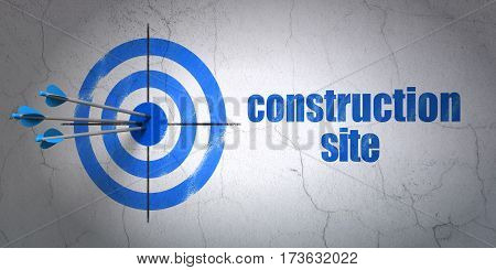 Success construction concept: arrows hitting the center of target, Blue Construction Site on wall background, 3D rendering